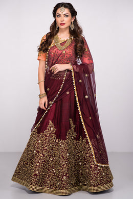 Bridal Maroon Pure Silk Heavy Glitter + Sequence Work With Engaging Lahengha Choli