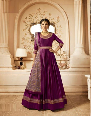 Illustrated Design Purple Heavy Linen Satin Embroidery Work With Long Anarkali Suit