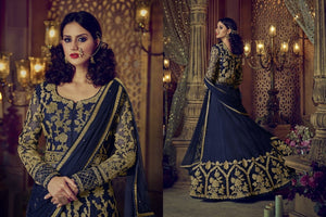 Voluminous Blue Heavy Heavy Georgette Coding  + Sequince Work With Long Anarkali Suit