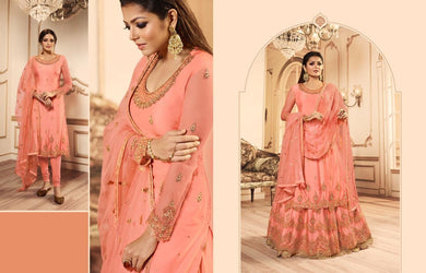 Splendid Designer Orange Net Embroidered Work With Long Anarkali Suit