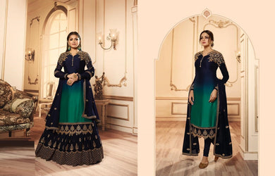 Admirable Navy Blue Satin Georgette Embroidered Work With Long Anarkali Gown
