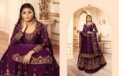 Impressive Purple Satin Georgette Embroidered Work With Long Anarkali Gown