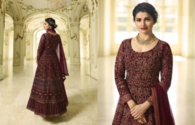 Segregation Maroon Heavy Shaded Net Embroidery Work With Long Anarkali Suit