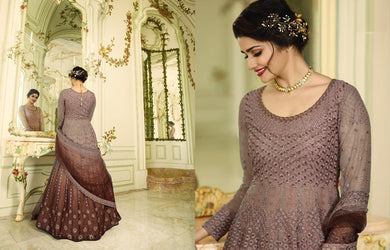 Extraordinary Multi Heavy Shaded Net Embroidery Work With Long Anarkali Suit