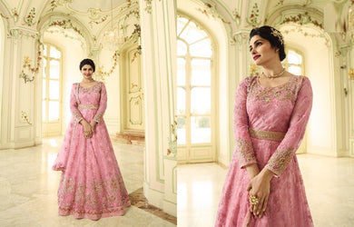 Hypnotizing Hottest Pink Heavy Shaded Net Embroidery Work With Long Anarkali Suit