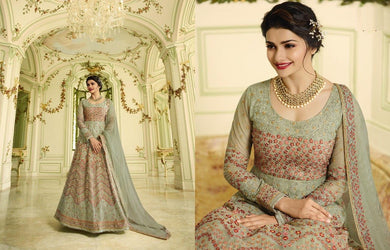 Delightsome Sea Green Heavy Shaded Net Embroidery Work With Long Anarkali Suit
