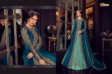Devastating Multi Blue Net + Khadi Silk Embroidery Work With Long Anarkali Suit