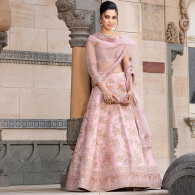 Intoxicating Flamingo Pink Bridal Malai Satin Heavy Embroidery Work With Lahengha Choli