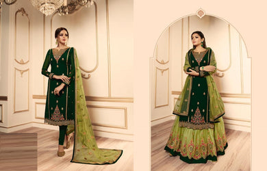 Beauteous Celebration Green Satin Georgette Embroidered Work With Long Anarkali Gown