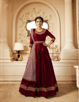Fascinator Honest Red Heavy Linen Satin Embroidery Work With Long Anarkali Suit