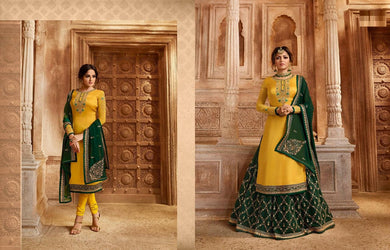 Distinguished Yellow & Green Satin Georgette Embroidery Work With Transparent Suit