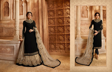 Engaging Black & Cream Satin Georgette Embroidery Work With Transparent Suit