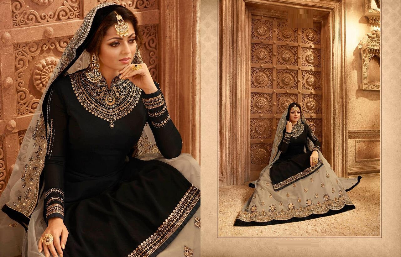 489c8b798d ... Engaging Black & Cream Satin Georgette Embroidery Work With Transparent  Suit