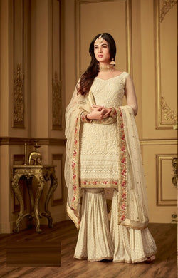 Congenial Cream Net + Georgette Embroidery Work With Straight Plazoo Suit