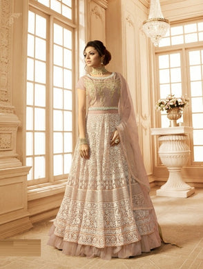 Immaculate Peach Net + Georgette Embroidery Work With Long Anarkali Suit