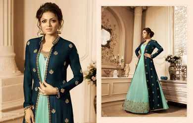 Favorable Blue Japan Satin Embroidery Work With Long Anarkali Suit