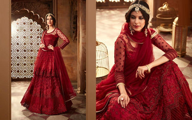 Bewilder Red Net Embroidered Work With Long Anarkali Suit