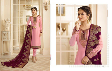 Eye-candy Pink Satin Gerogette Embroidered Work With Long Straight Salwar Suit