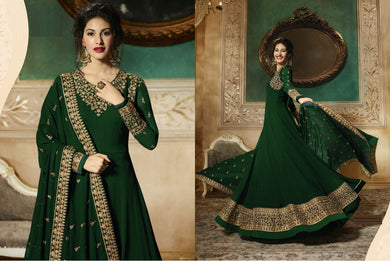 Couturiers Green Heavy Georgette Sequince Work With Long Anarkali Suit