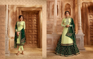 Holi Special Green Heavy Satin Georgette Embroidery Work With Long Salwar Transpernt Suit