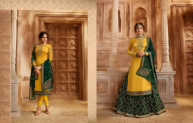Lovely Yellow Satin Georgette Embroidery Work With Long Salwar Transpernt Suit