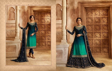 Complimenting Multi Blue Satin Georgette Embroidery Work With Transparent Suit