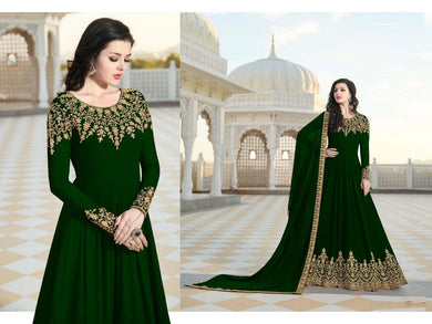 Paramount Green Heavy Faux Georgette Embroidered Work With Long Anarkali Suit