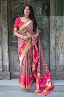 Aesthetically Pink Mahakant Silk Heavy Hand Woven Work With Superb Saree