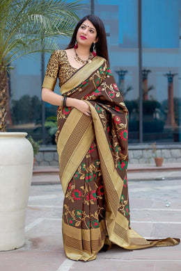 Festooned Brown Mahakant Silk Heavy Hand Woven Work With Superb Saree