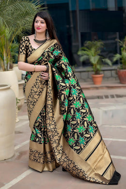 Artificer Looking Black Mahakant Silk Heavy Hand Woven Work With Superb Saree