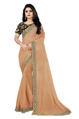 Festivity Cheer Cream Georgette Sequance & Thread Work With Trendy Saree
