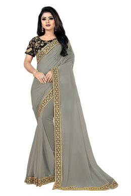 Enchantment Dark Grey Georgette Sequance & Thread Work With Trendy Saree