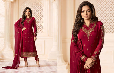 Finely Red Faux Georgette Embroidery Work With Straight Salwar Suit