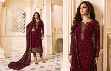 Florentine Maroon Faux Georgette Embroidery Work With Straight Salwar Suit