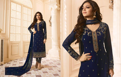 Detailed Navy Blue Faux Georgette Embroidery Work With Straight Salwar Suit