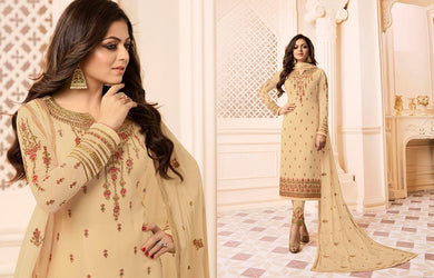 Hilarious Cream Faux Georgette Embroidery Work With Straight Salwar Suit