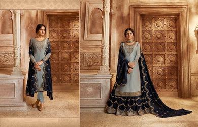 Distinguished Grey & Navy Blue Satin Georgette Embroidery Work With Transparent Suit