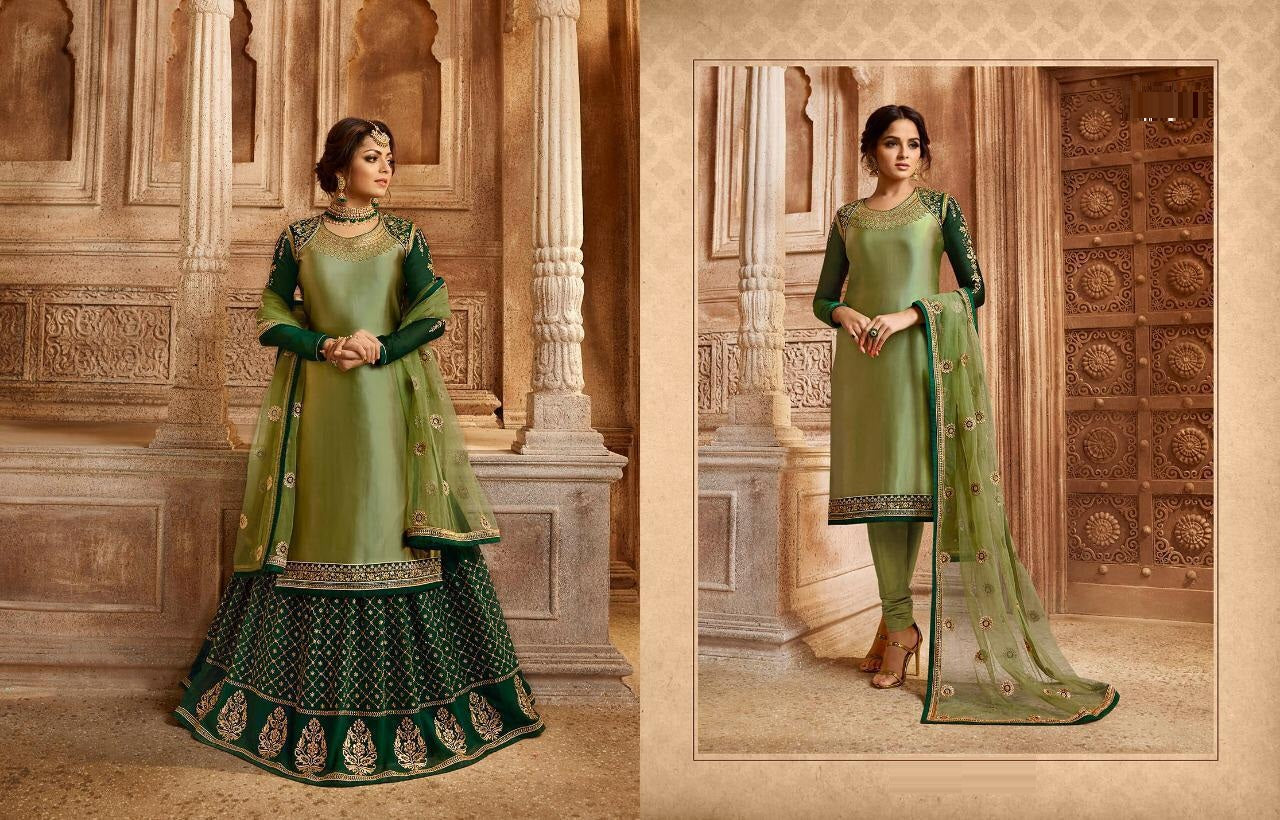 1d26377fc0 Conspicuous Pine Green Satin Georgette Embroidery Work With Transparent Suit  ...
