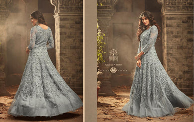 Asymmetric Sky Blue Mono Net Embroidery Work With Long Designer Anarkali Suit