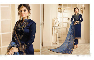Gracious Navy Blue Satin Gerogette Embroidered Work With Long Straight Salwar Suit