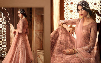 Exquisite Peach Heavy Diamond Net Embroidered Work With Long Anarkali Suit