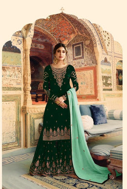 Aweome Look Green Heavy Faux Georgette Embroidered Work With Long Straight Suit + Sharara