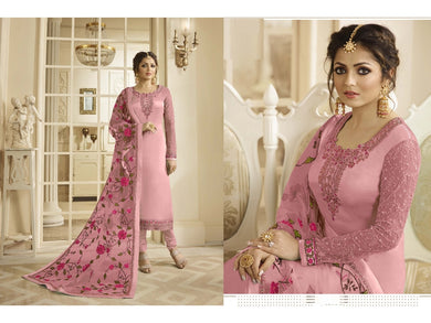 Engrossing Pink Satin Gerogette Embroidered Work With Long Straight Salwar Suit