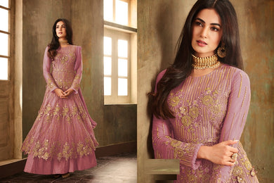 Spreading Purple Heavy Net Embroidered Work With Long Anarkali Suit