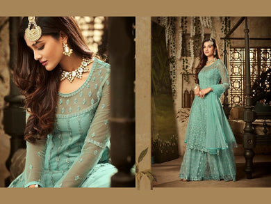Finished Sky Blue Heavy Bridal Net Embroidered Work With Long Straight Suit + Sharara
