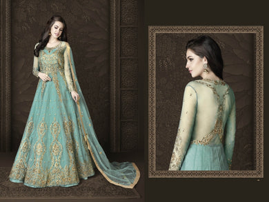 Expreesive Sky Blue Butterfly Net Embroidered Work With Long Anarkali Suit
