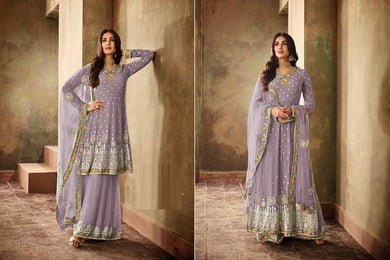 Flamboyant Purple Georgette Embroidered Work With Long Straight Suit + Sharara