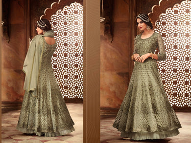 Titillating Light Green Heavy Net Embroidered Work With Long Anarkali Suit