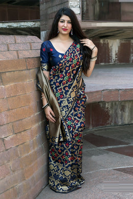 Compelling Navy Blue Patola Silk Heavy Hand Woven Work With Superb Saree