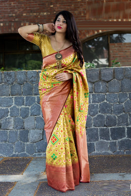 Great Lovable Yellow Patola Silk Heavy Hand Woven Work With Superb Saree